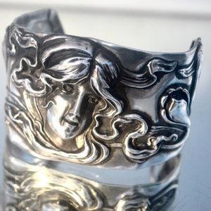 Victorian Art Nouveau Lady Face Kerr Cuff Bracelet